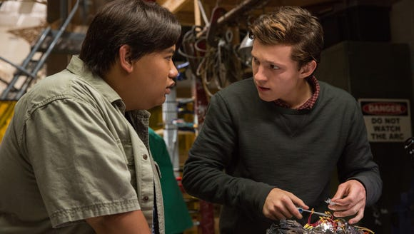 Ned (Jacob Batalon, left) and Peter (Tom Holland) nerd