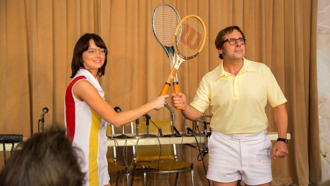 Emma Stone stars as Billie Jean King and Steve Carell is Bobby Riggs in 'Battle of the Sexes' (Sept. 22).