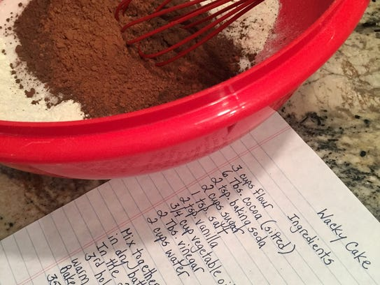 Wacky Cake begins with a large bowl of dry ingredients.