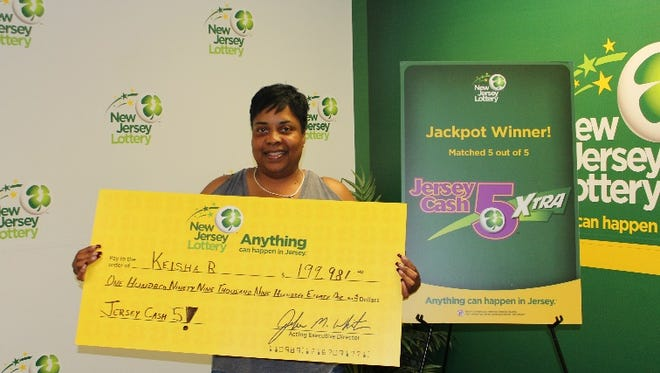 Keisha Roberts, of Williamstown, won $199,000 in the NJ Lottery Jersey Cash 5 drawing June 22, 2018.