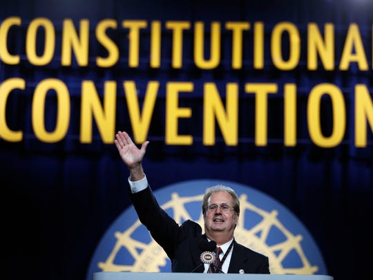 Gary Jones, the newly elected president of the United Auto Workers, addresses the 37th UAW Constitutional Convention on June 14, 2018, at Cobo Center in Detroit.