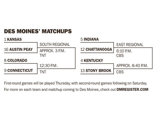 NCAA tournament bracket for Des Moines in 2016.