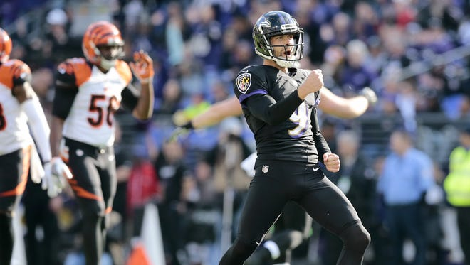 Baltimore Ravens kicker Justin Tucker celebrates a 52 yard field foal in the first quarter of the NFL Week 12 game between the Baltimore Ravens and the Cincinnati Bengals at M&T Bank Stadium in Baltimore on Sunday, Nov. 27, 2016. After one half, the Ravens led the Bengals 16-3.