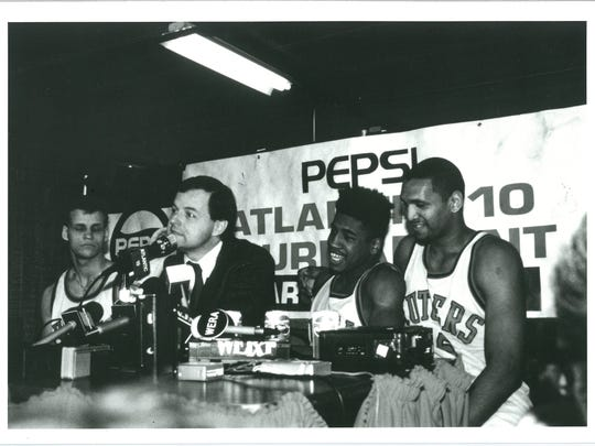 From left: Rick Dadika, Bob Wenzel, Craig Carter and Tom Savage address the media during the 1989 Atlantic 10 Tournament.