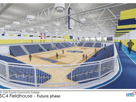 A future phase includes increasing the seating capacity to near 2,000, adding the SC4 Fitness Center, and installing an elevated walking track above the bleachers.