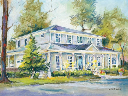 A painting of the Montgomery Home, which is on the