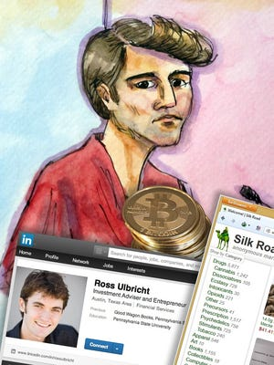This artist rendering shows Silk Road darknet mastermind Ross Ulbricht appearing in San Francisco federal court after his arrest in 2013.
