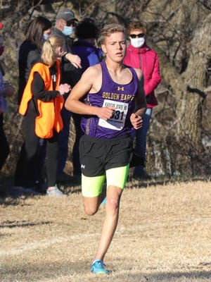 WaKeeney-Trego's Wyndom Giefer won a Class 2A cross country championship on Saturday at Victoria's Sand Plum Nature Trail.