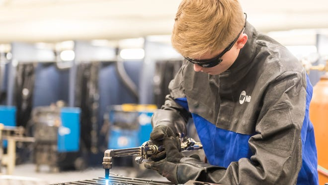 CCTEC student Logan Sutton works in the welding classroom during Smart Lunch at Cumberland County Technical Education Center on Wednesday, January 18.