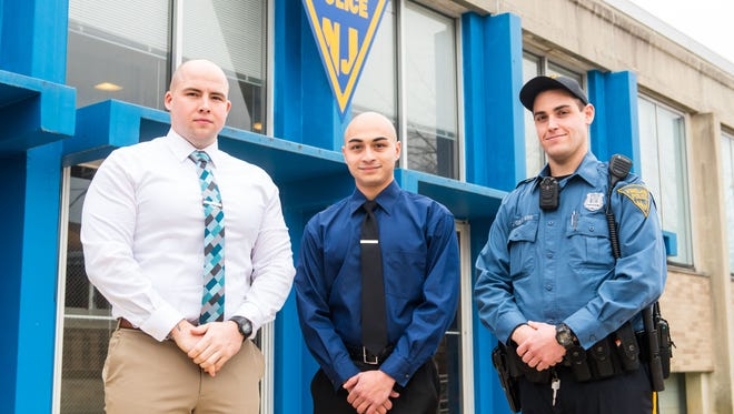 Vineland's three newest officers Paul Panchesine, Glenn Capazzi and Jesse Genovese outside of Vineland Police HQ on Wednesday, February 1.