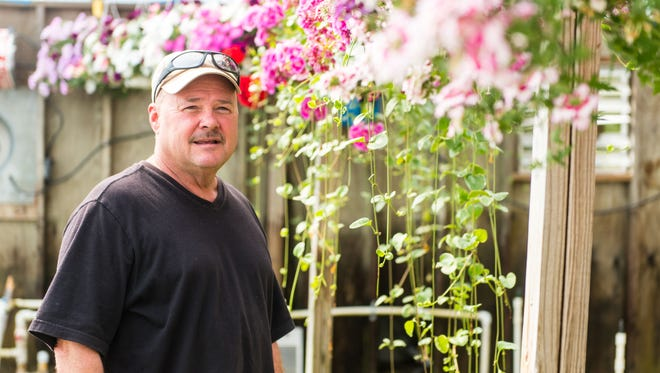 Mike Karisko takes a look at hanging flowers in his nursery located on Fairton Road in Millville.
