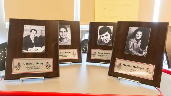 Plaques honoring Vineland High School Staff to be hung on the Wall of Warriors at Vineland High School on Wednesday, May 31.