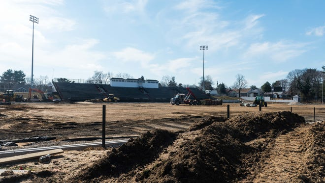 Construction underway at Gittone Stadium where a new playing surface and other upgrades are being installed on Tuesday, February 20.