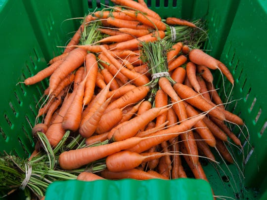 Carrots from Boston Medical Center's rooftop farm.