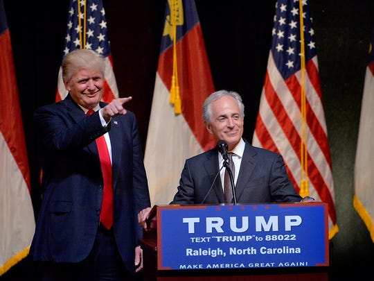 Donald Trump stands next to Sen. Bob Corker, R-Tenn.,