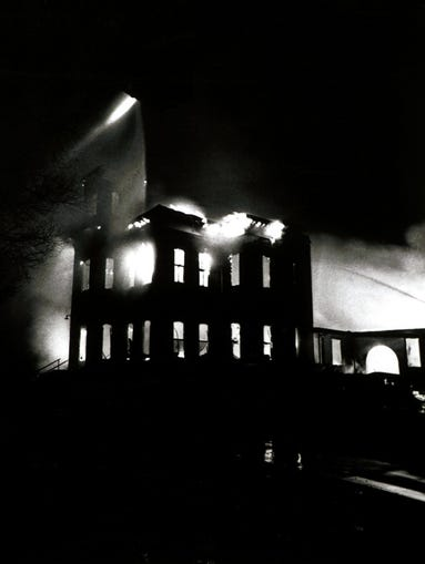 Old Main burns down on the CSU campus on May 8, 1970.