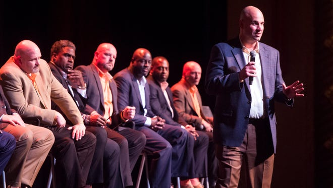 Tennessee head coach Jeremy Pruitt introduces the football staff and the year's new signees during a Signing Day celebration at the Tennessee Theatre on Wednesday, February 7, 2018.