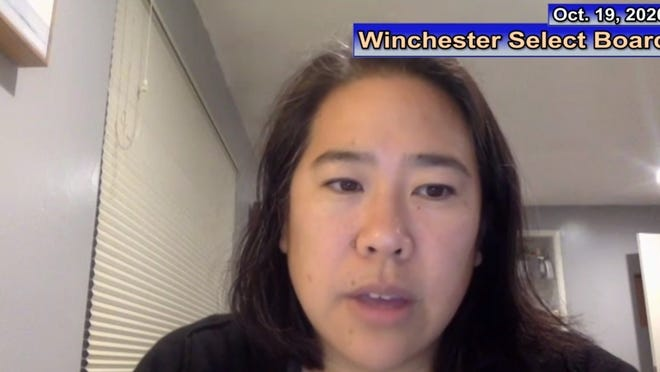 Winchester Town Manager Lisa Wong addresses the Select Board during its virtual meeting on Oct. 19.