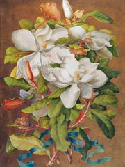"This undated photo provided by the New York Botanical Garden shows Georg Dionysius Ehret's ""Magnolia grandiflora (Southern Magnolia),"" bodycolor on vellum, ca. 1737. The piece is part of what is being called a sort of coming out party for Rachel ""Bunny"" Mellon's enormous art collection. More than 50 rare masterpieces from her collection, most never before shown in public, are now on view in ""Redouté to Warhol: Bunny Mellon's Botanical Art,"" at the New York Botanical Garden. The show will remain on view through February 12, 2017."
