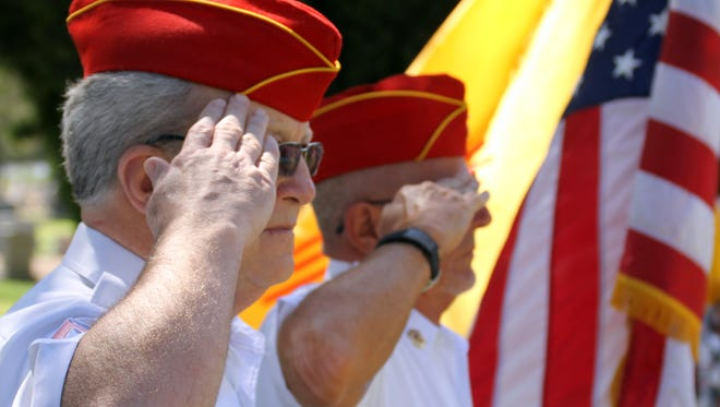 Members of the Marine Crops League participated in the Memorial Day ceremony to watch over the colors.