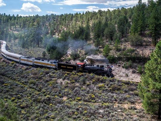 Grand Canyon Railway trains whisk passengers from Williams to the South Rim of Grand Canyon.