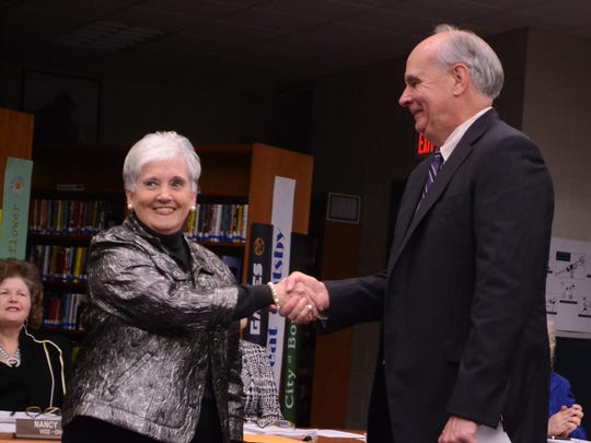 Pat Cox takes the oath of office to become an official Anderson School District 1 board member.