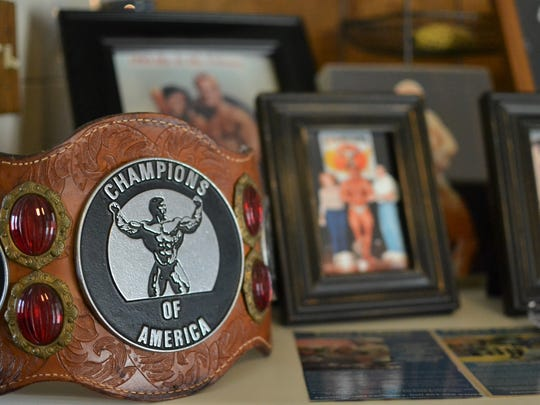 Lisa LaReau of Anderson assembled a small portion of her husband Peter LaReau's various trophies, awards and photos on Friday at her sister's house in Travelers Rest.