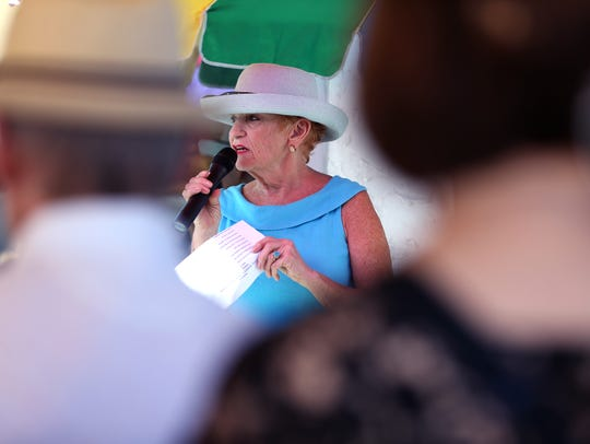 Kae Berry speaks during the celebration of a renovation