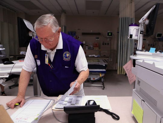 Richard Peters, a 75-year-old volunteer in the catheterization