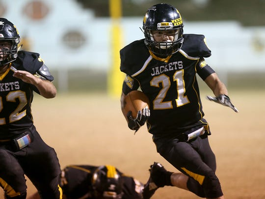 Menard's Christian Salazar makes a play down field