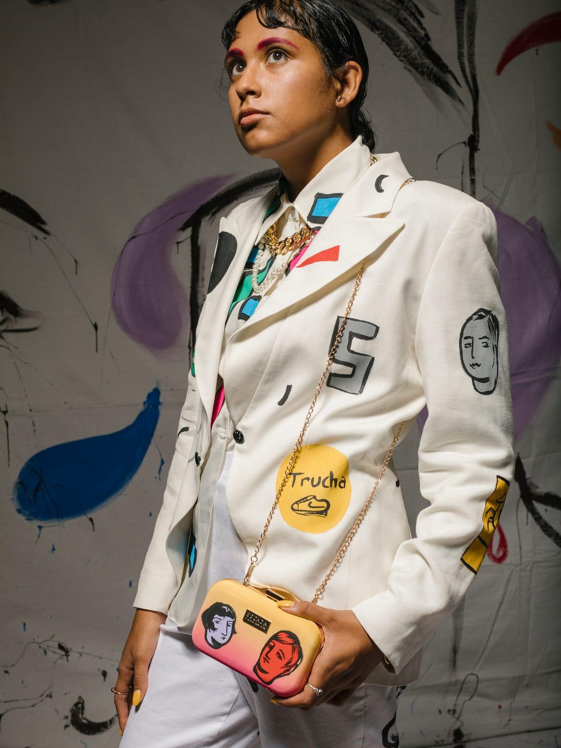 Giselle Urbina in a custom Sofia Enriquez jacket, shirt,