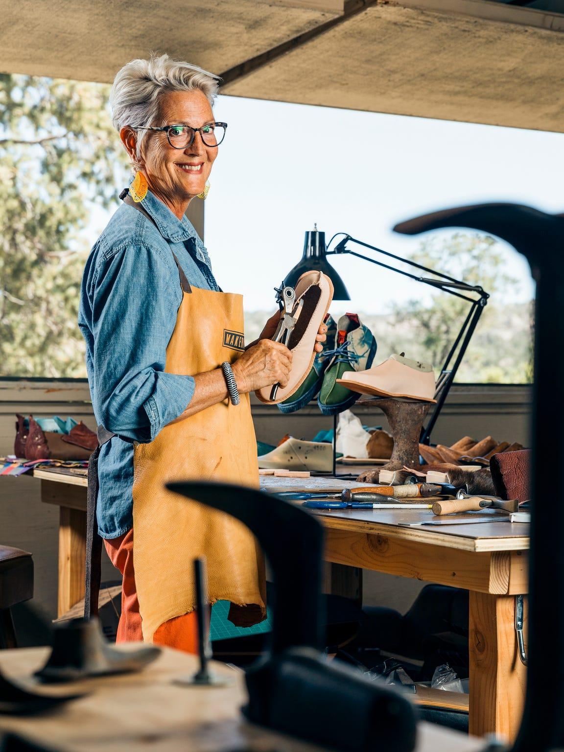 Artisan shoe maker Debra Hovel in her Makerville studio