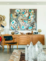 A finished work by Lynda Keeler in her Palm Springs home