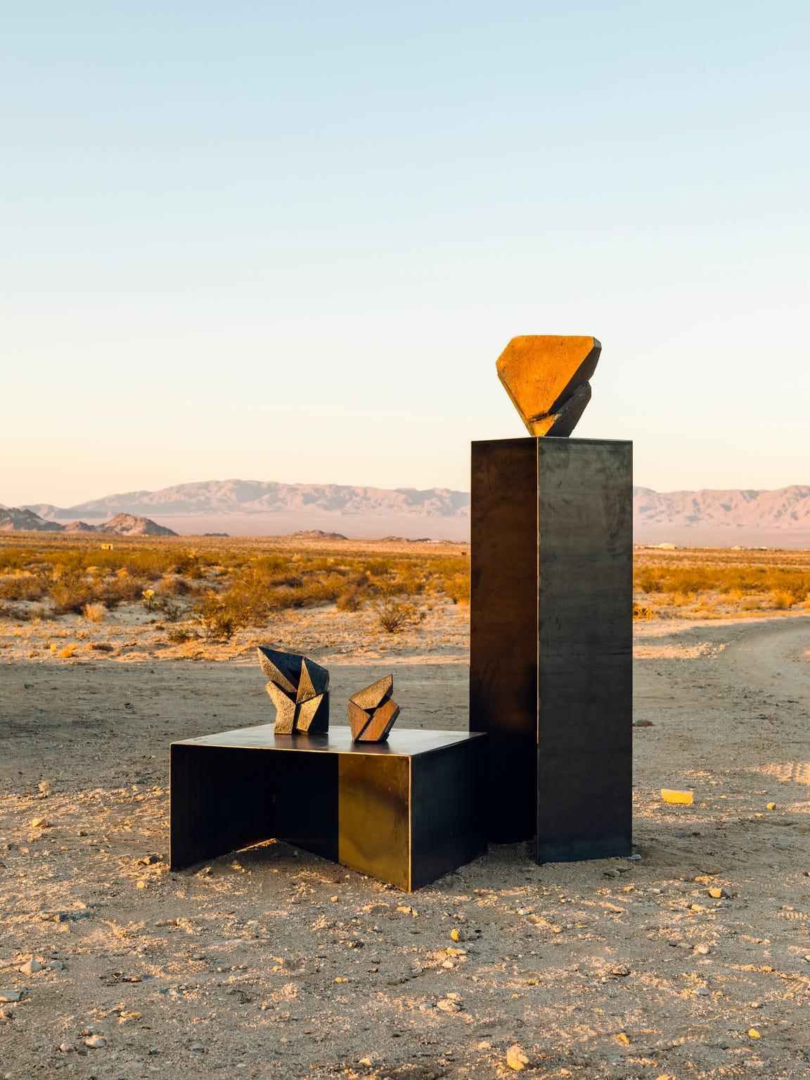 Jonathan Cross' sculptures outside his studio in Twentynine