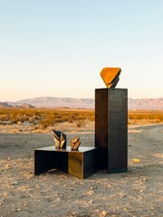 Jonathan Cross' sculptures outside his studio in Twentynine Palms, Calif.