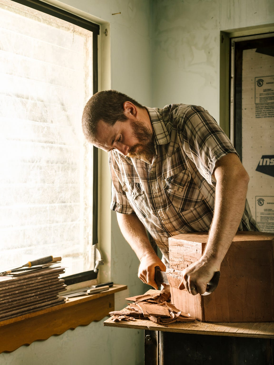 Jonathan Cross at work in his studio in Twentynine