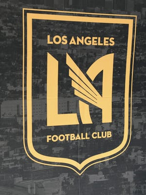 LAFC team crest on display at the club's stadium site. The venue will be named Banc Of California Stadium