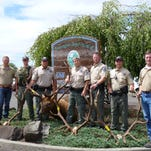 Officers display elk antlers illegally taken from a Montana ranch between 2010 and 2013.