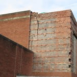 Pictured is a major crack in the exterior cinderblock wall of Northampton High School's cafeteria. A project to repair the cinderblock and brick veneer is slated for summer 2015.