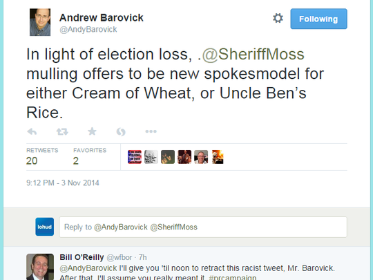 A screenshot of the since-deleted Election Day tweet by White Plains attorney Andrew Barovick that has drawn a firestorm of criticism.