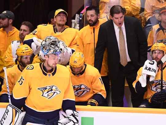 Nashville Predators goaltender Pekka Rinne (35) stands near the bench in the second period of Game 5 of the second round NHL Stanley Cup Playoffs at Bridgestone Arena, Saturday, May 5, 2018, in Nashville, Tenn.