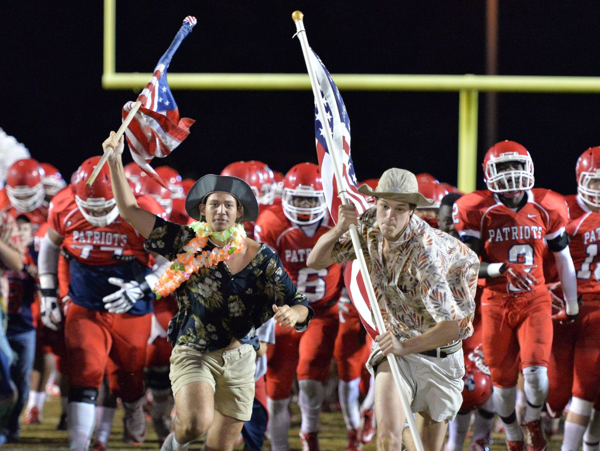 Oakland takes the field prior to Friday's game against Coffee County.