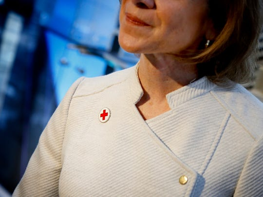 American Red Cross President and CEO Gail J. McGovern wears her Red Cross pin whenever she goes out in public, she said Thursday at Corning Inc.'s annual Blood Donor Recognition Breakfast.