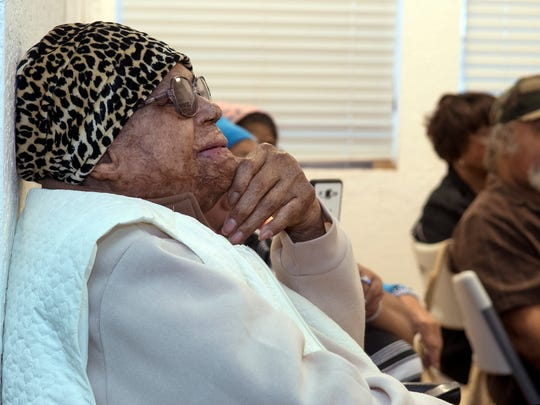 Emma Flournoy, 95, who attended the school up until the 10th grade, listens to the presentation Tuesday, Feb. 28, 2017.