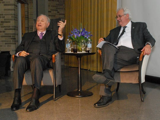 Outgoing Lawrence Tech architecture dean Glen LeRoy, right, is in conversation at the school with the late benefactor A. Alfred Taubman.
