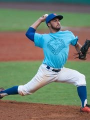 Cape Coral High's Kyle Arjona pitches for the North Team during the Senior All-Star Classic Tuesday night at City of Palms Park.