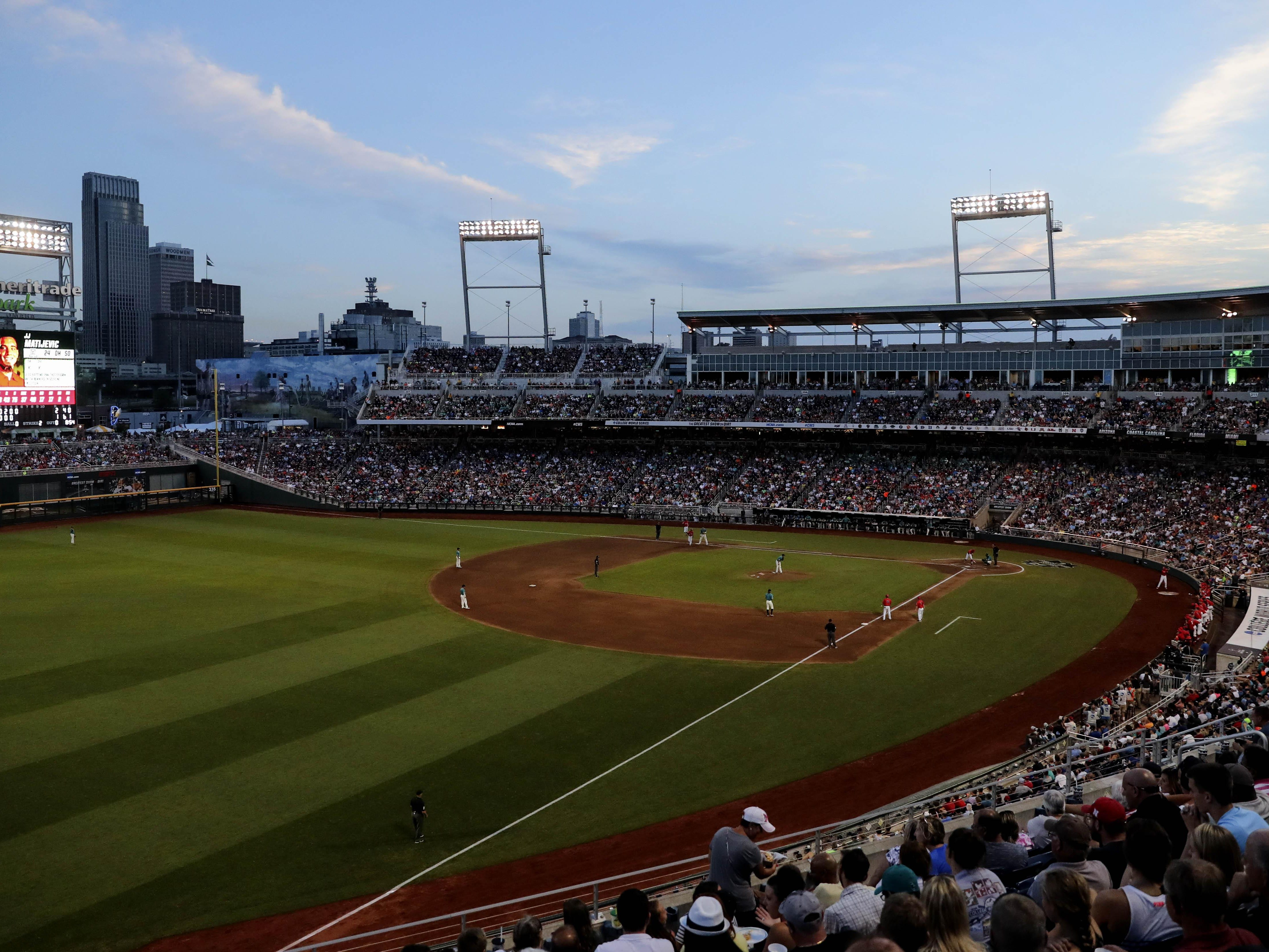 General view of the game between the Arizona Wildcats and Coastal Carolina Chanticleers in game two of the College World Series championship series at TD Ameritrade Park in 2016.