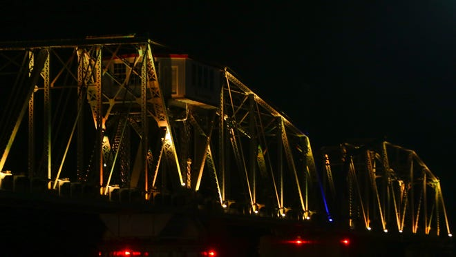 The RJ Corman bridge is lit up in gold in honor of Gold Star families. The bridge was gold from Sept. 30-Oct. 2.