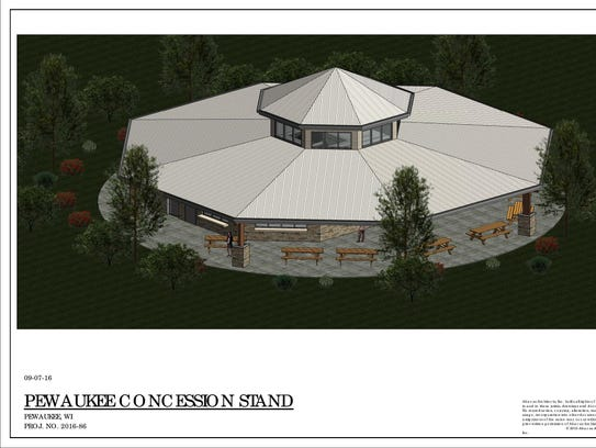 An aerial shot of the proposed concession stand that