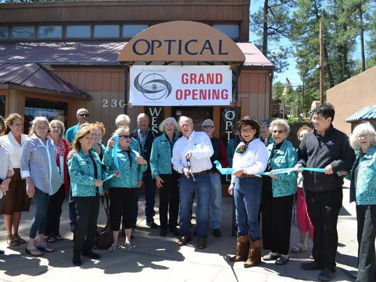 The Ribbon Cutting for Westlake Optical.  They are